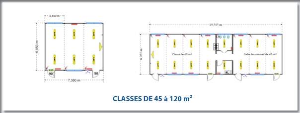 PLANS TYPES DE CLASSES DE 45 à 120 m²